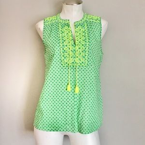 J. Crew Factory Sleeveless Embroidered Blouse